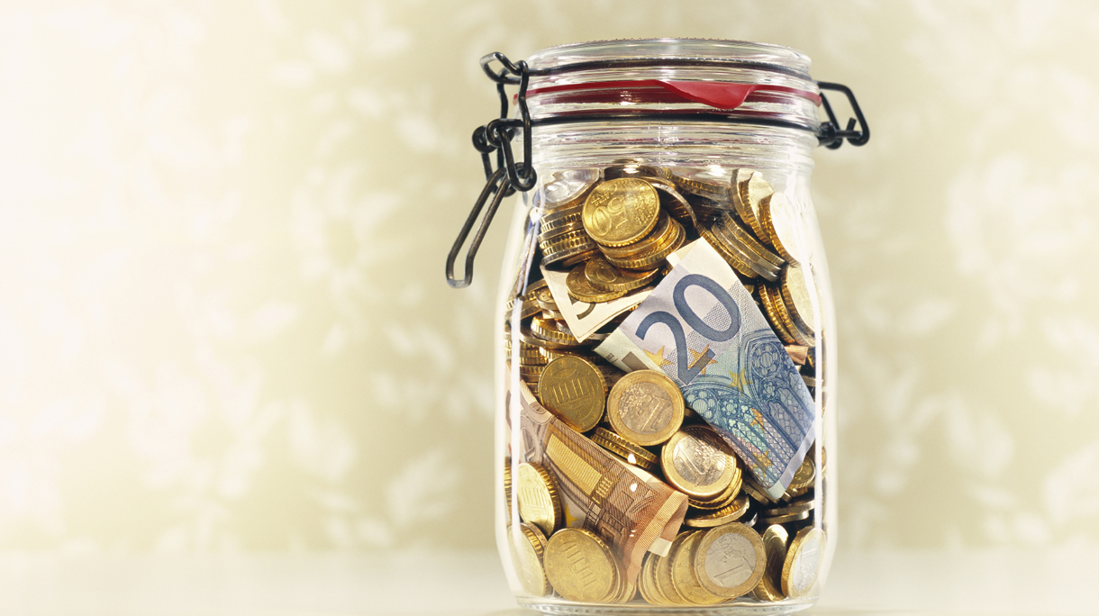 A jar with european currency